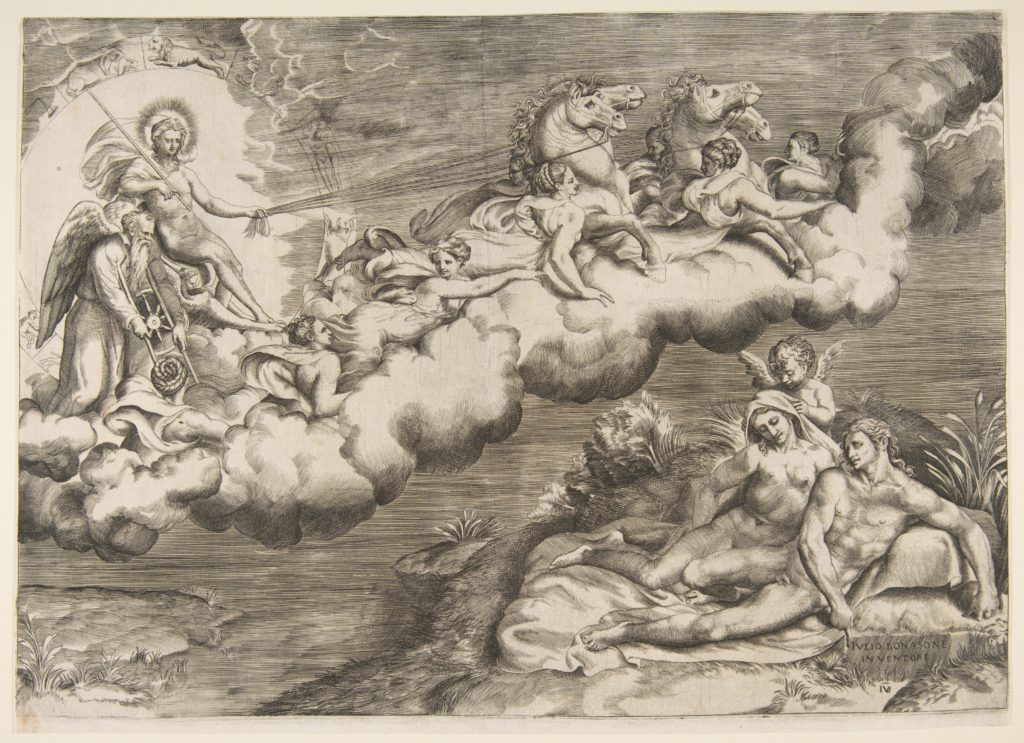 An allegory of the rising sun, a naked man wearing a shroud and accompanied Father Time is being drawn by horses