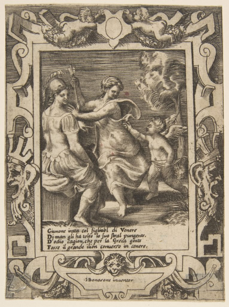 Athena seated near Juno who has taken away Cupid's arrows, set within an elaborate frame from the 'Loves, Rages and Jealousies of Juno'