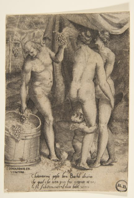 Bacchus at left giving grapes to women, from 'The Loves of the Gods'
