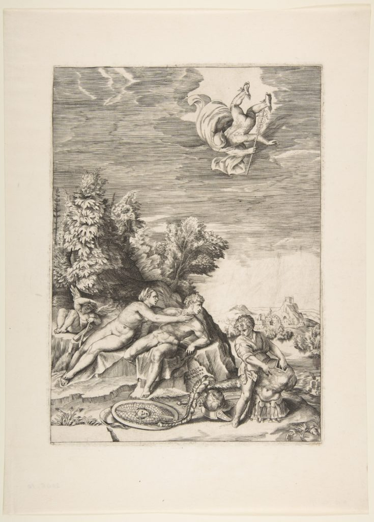 Calypso trying to detain Ulysses as a child prepares his armour at right and Mercury falls from the sky