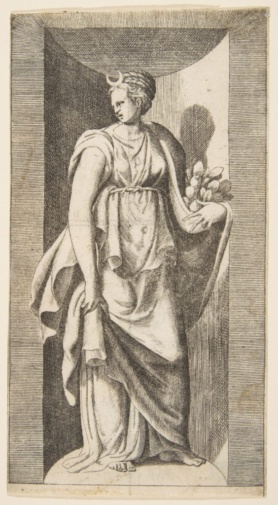Diana holding fruit in her left hand standing within a niche
