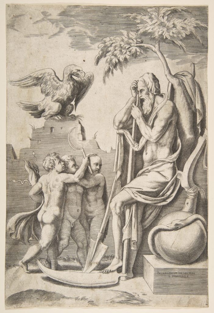 Father Time at the right leaning on a scythe, three naked boys and eagle at the left