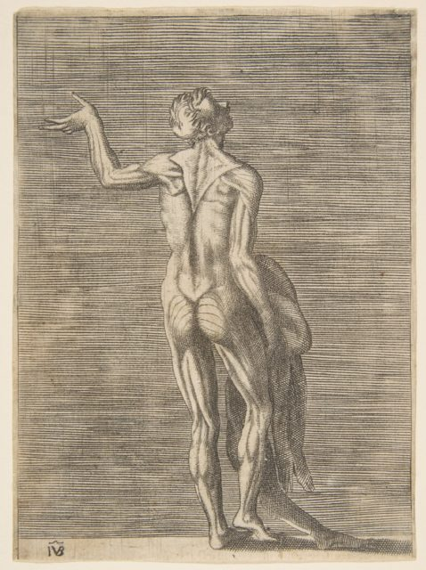 Flayed man with left hand on hip, holding skin in right hand