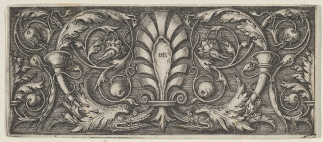Horizontal Panel with a Central Palmette, Two Dolphins, and Meandering Tendrils