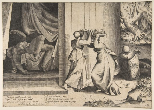 Judith passing the head of Holofernes to her maidservant, the decapitated Holofernes inside the tent at left