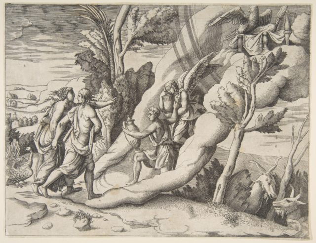 Jupiter and Juno being received in the heavens by Ganymede and Hebe, from the 'Division of the Universe'