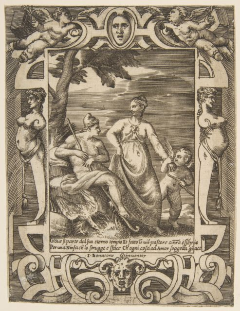 Jupiter at left in the form of a shepherd accompanied by Mnemosyne, set within an elaborate cartouche, from the 'Loves, Rages and Jealousies of Juno'