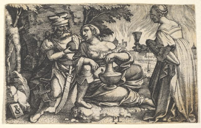 Lot and his daughters: a daughter at center rests her right arm on Lot's knee and a vessel on her thigh, at right a daughter holds a goblet in her outstreched right hand, from a series of ten Old Testament scenes