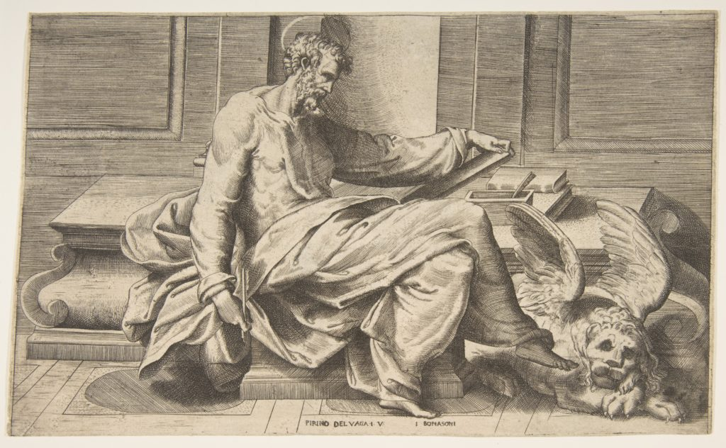 Saint Mark writing his gospel, winged lion at the right