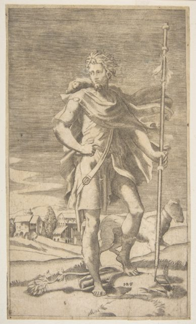Saint Roch standing holding a staff in his left hand, a dog by his side