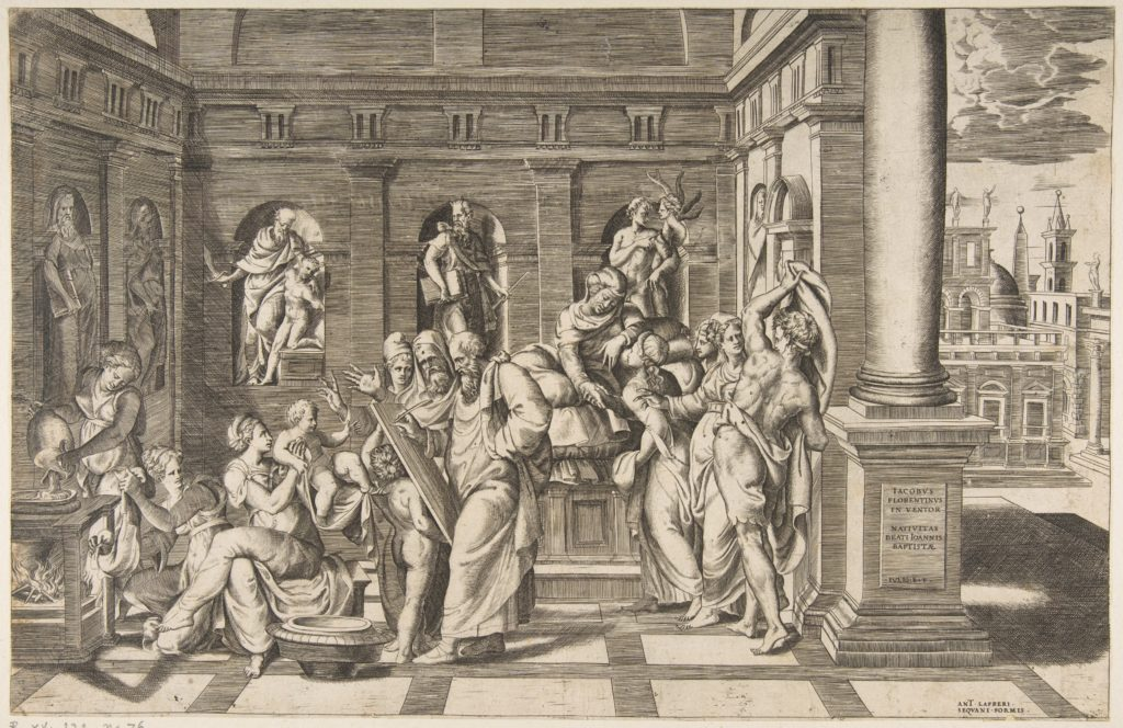 The birth of Saint John the Baptist set within a classical building