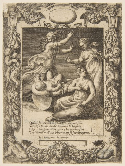 The infant Hercules killing the snakes, set within an elaborate frame, from the 'Loves, Rages and Jealousies of Juno'
