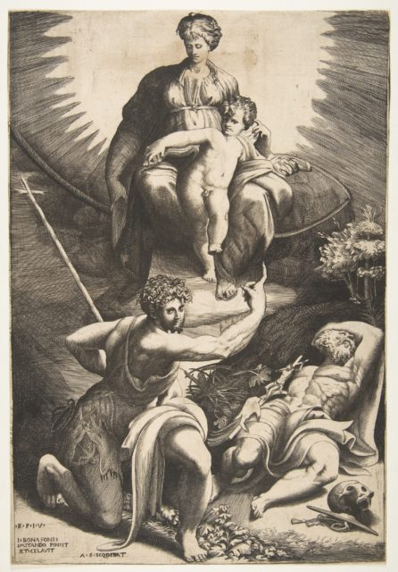 The vision of Saint Jerome who is asleep in the bottom right, the Virgin and Child appear above being pointed to by Saint John the Baptist