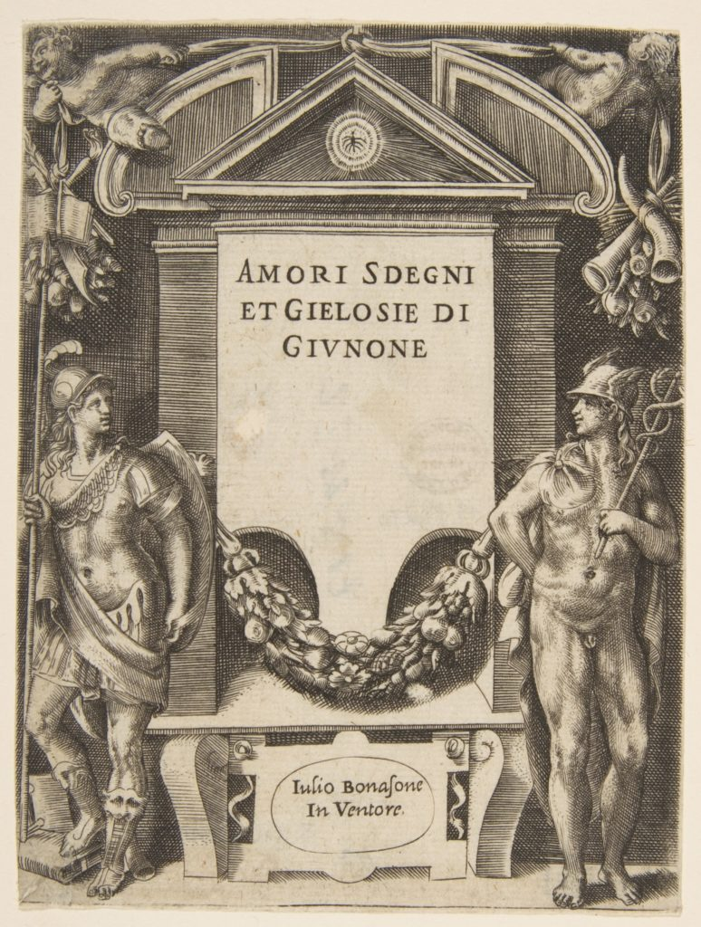 Title plate to the series the 'Loves, Rages and Jealousies of Juno'