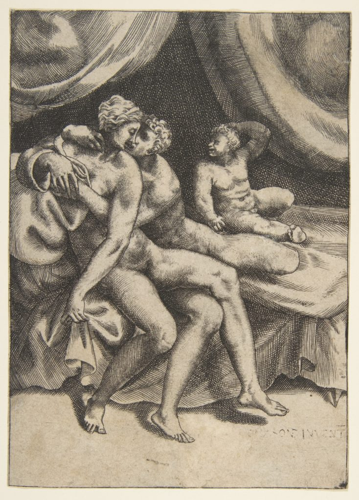 Two lovers on a bed, from 'The Loves of the Gods'