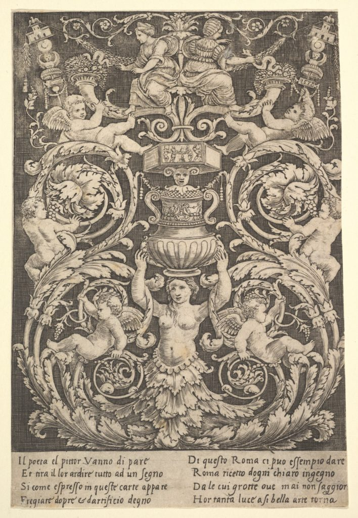 A panel of ornament with a woman holding a vase in centre