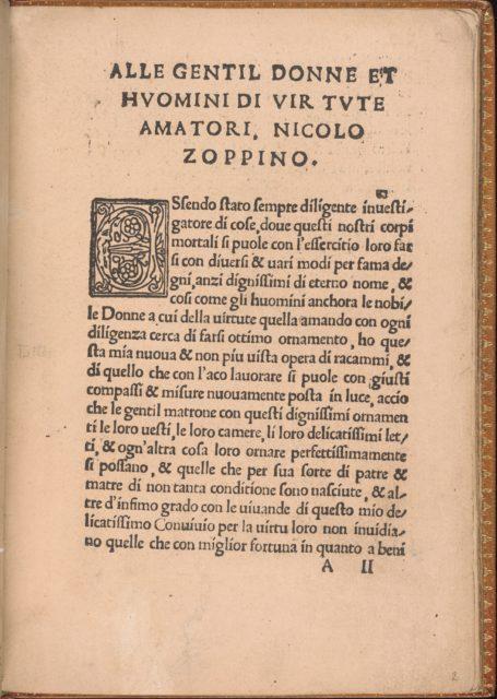 Convivio delle Belle Donne, page 2 (recto)