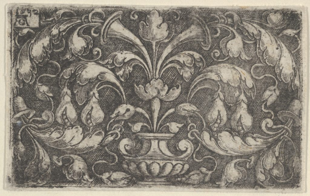 Horizontal Panel with Tendrils Growing Outwards from a Vase at Center