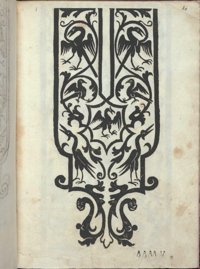 Libro quarto. De rechami per elquale se impara in diuersi modi lordine e il modo de recamare...Opera noua, page 4 (recto)