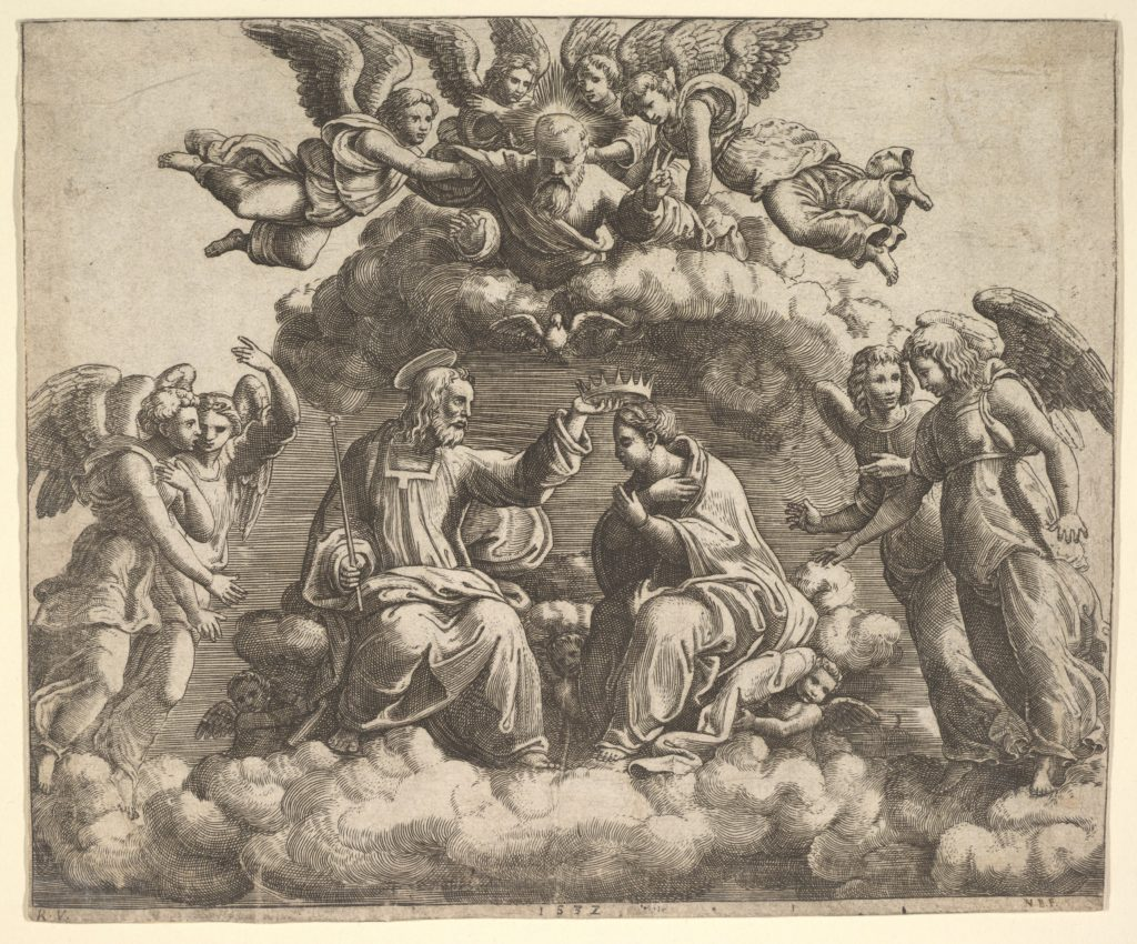 The coronation of the Virgin, Christ holding the crown over her head, God the Father  blessing above