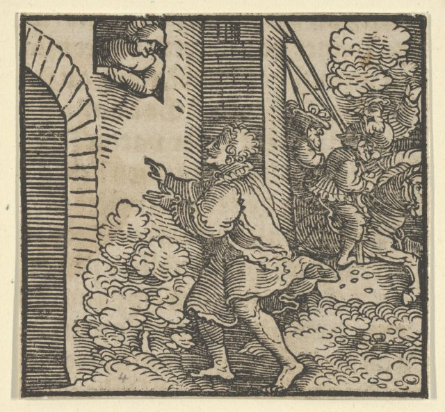 Rinaldo Robbed, Standing in front of the Widow's House, from The Decameron
