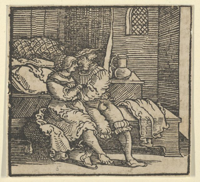 Spinneloccio Locked up in a Chest, on which his Wife and Zeppa are Seated, from The Decameron