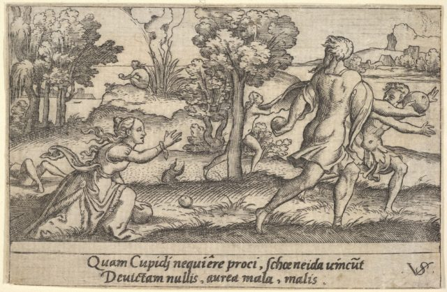 Atalanta and Hippomemes, in the foreground Atalanta kneeling to pick up an apple and Hippomemes running with an apple in either hand, in the landscape background Atalanta running, from a series of four mythological scenes
