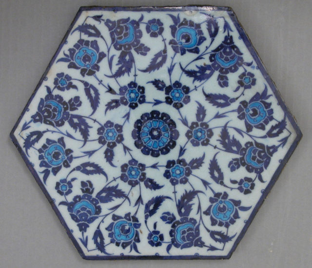 Hexagonal Tile with Floral Design