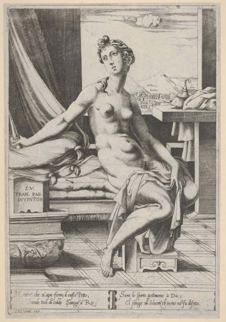 Lucretia naked and seated before a window, a dagger in her right hand and holding drapery in her left