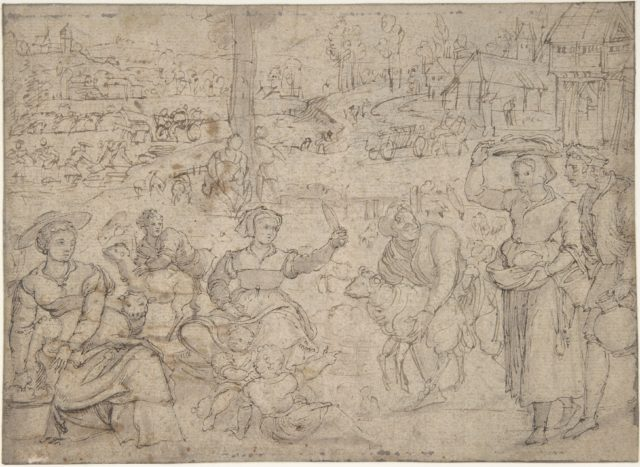 The Month of June, Shearing Sheep (recto); Couples Drinking Wine, The Month of October (verso)