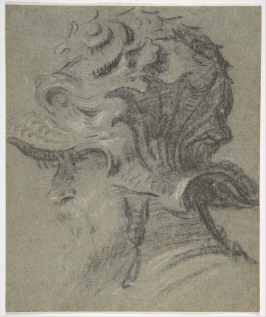 Study of a Bearded Man Wearing the Negroli Helmet of Guidobaldo II della Rovere, Duke of Urbino