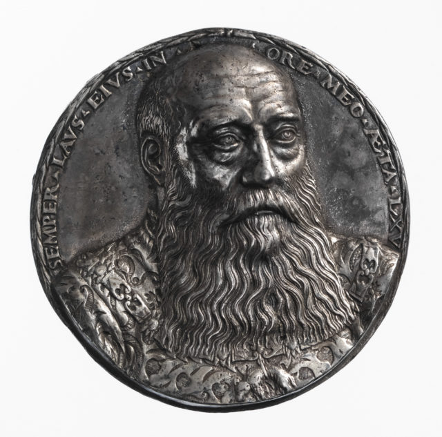 Portrait medal of George the Bearded (duke of Saxony) (obverse); coat of arms (reverse)