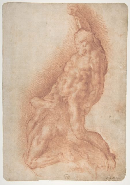 Samson Slaying the Philistine, after Michelangelo (recto); Figure of Fury, after Rosso Fiorentino (verso)