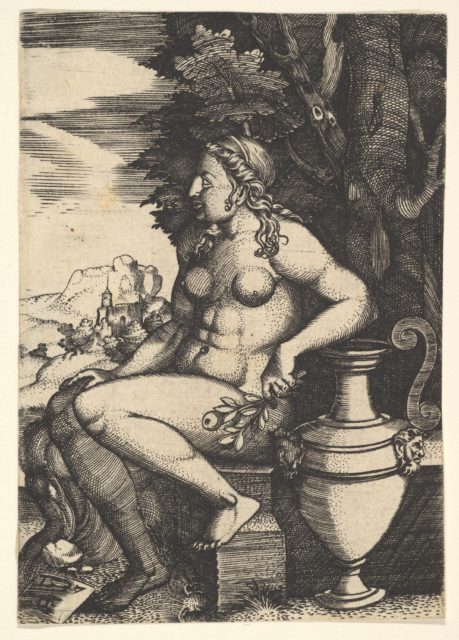 Seated nude next to a vase