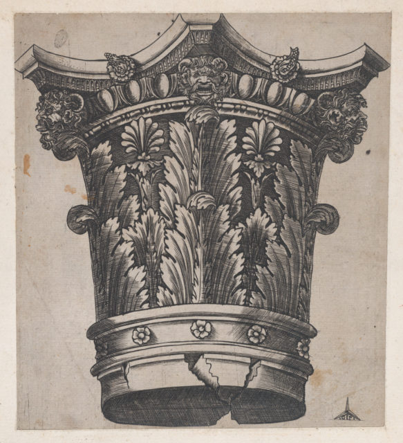 Speculum Romanae Magnificentiae: Capital with heads and masks