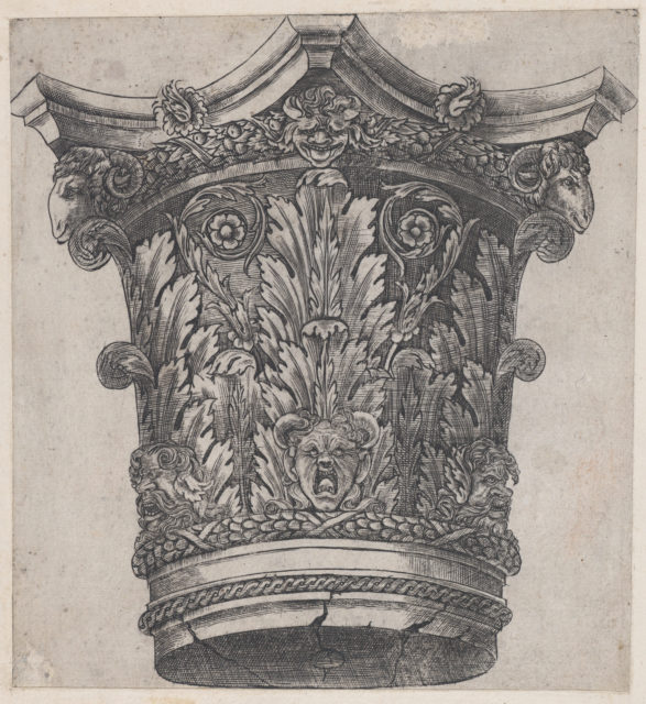 Speculum Romanae Magnificentiae: Capital with ram heads and masks