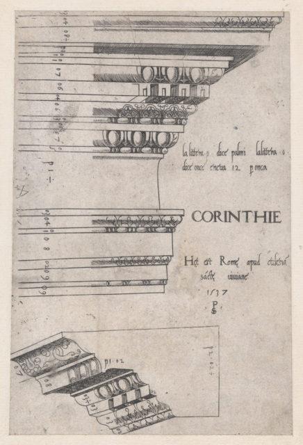 Speculum Romanae Magnificentiae: Corinthian entablature from Santa Bibiana, Rome