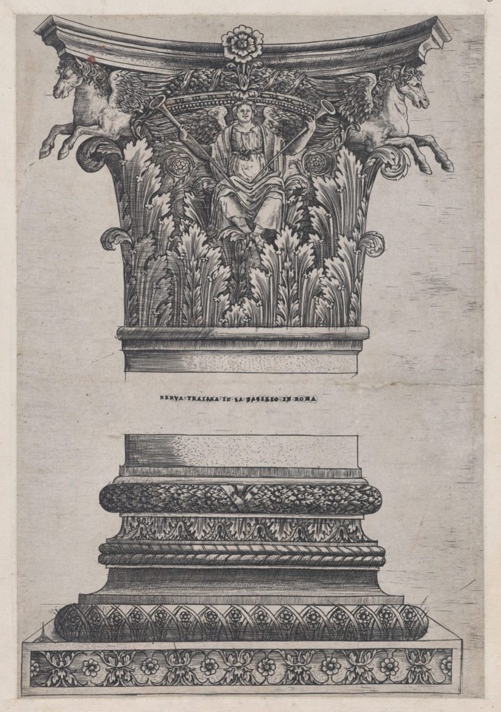Speculum Romanae Magnificentiae: Pegasus capital from the Temple of Mars Ultor and decorated base