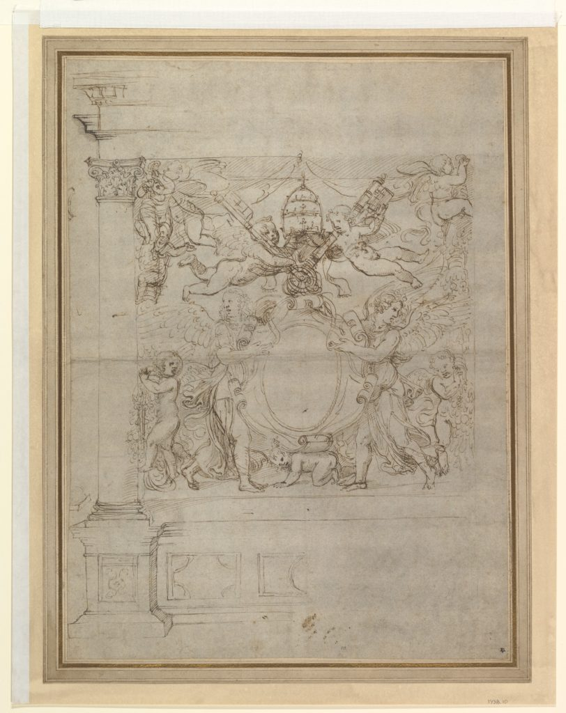 A Tabernacle Containing a Papal Escutcheon Supported by Angels