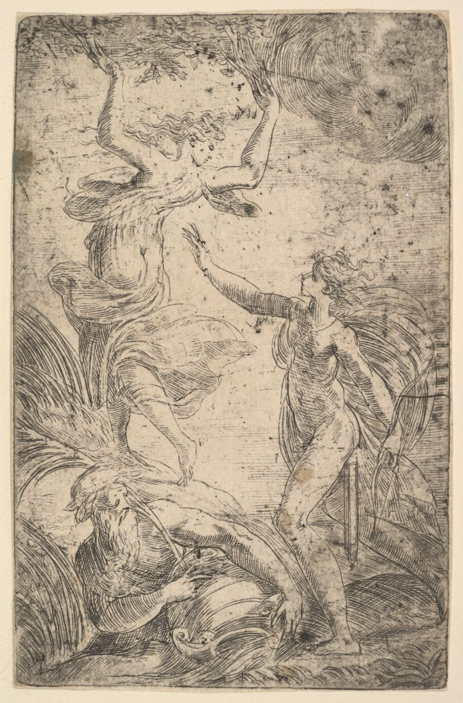 Apollo at right holding a bow chasing Daphne at the left