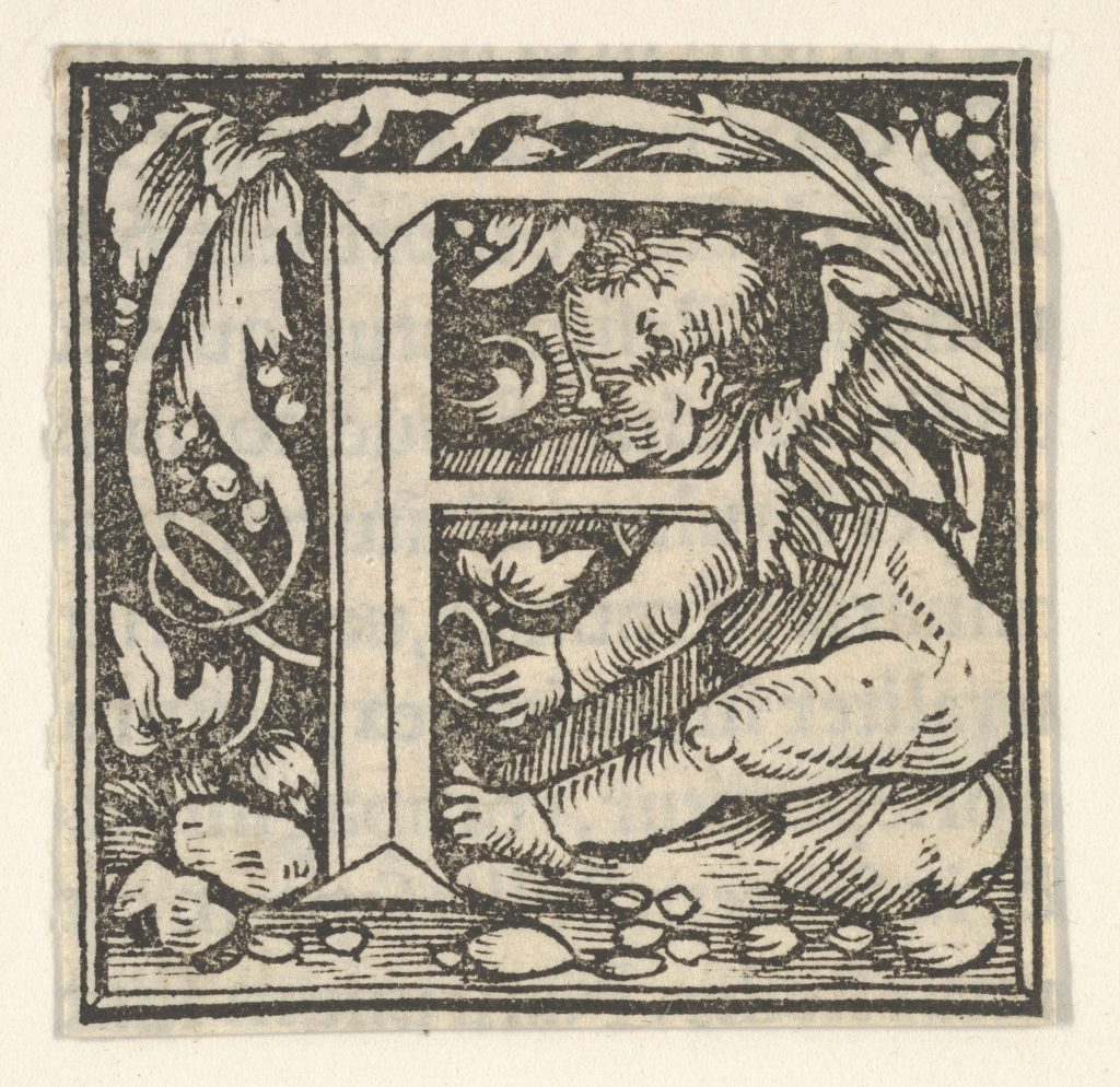 Initial letter F with putto