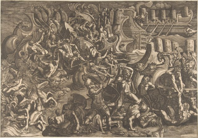 Naval Battle Between Greeks and Trojans