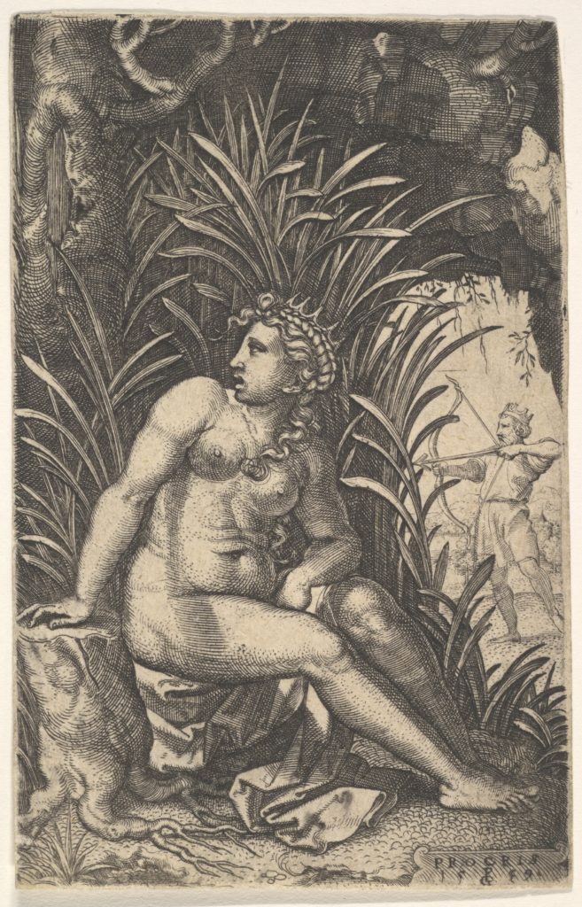Cephalus and Procris: Procris turns her head over her right shoulder while seated nude in a thicket, Cephalus draws an arrow with a bow beyond, from a series of four mythological scenes