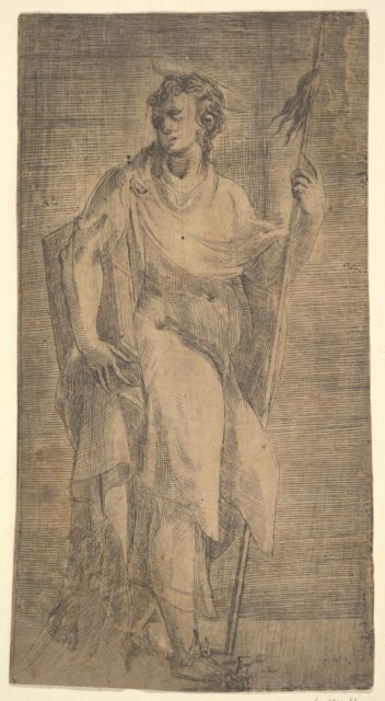 A saint, possibly Matthew, holding a staff and a book