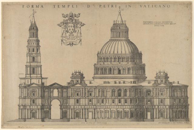Antonio da Sangallo's project for St Peters, plan of the façade extended to the left with a tower