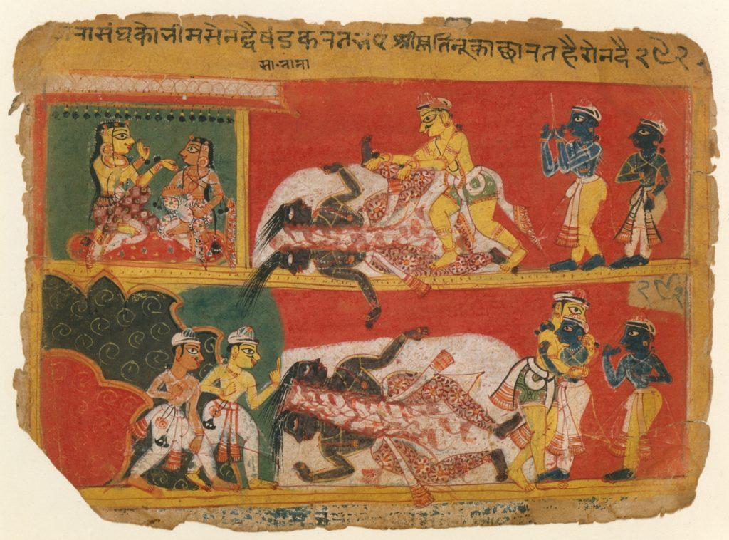 Bhima Slays Jarasandha: Page from a Bhagavata Purana Manuscript