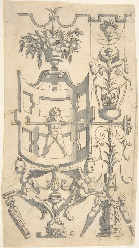 Candelabra Grotesque with a Naked Boy in a Strapwork Contraption