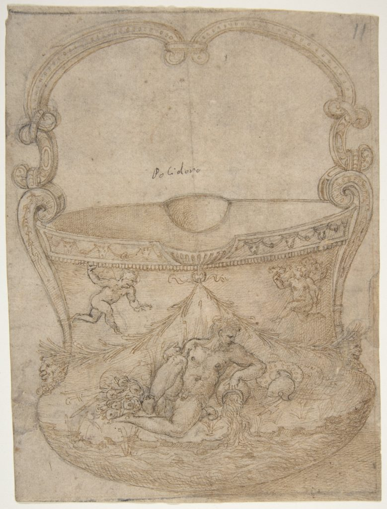 Design for a Bucket-Like Vessel with a Handle of Non-Figural Interlaces, on a Body Adorned with a River God and Two Putti.