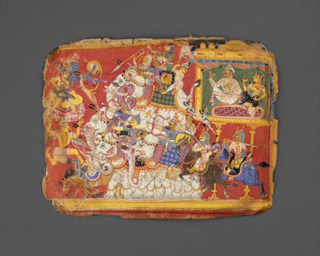 Krishna Battles the Armies of the Demon Naraka: Page from a Bhagavata Purana Manuscript