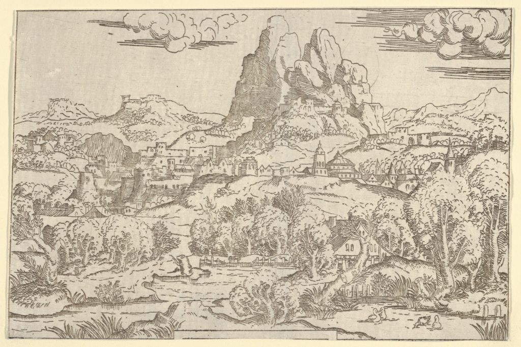 "Landscape from ""Venus Pushing Cupid"" frame"
